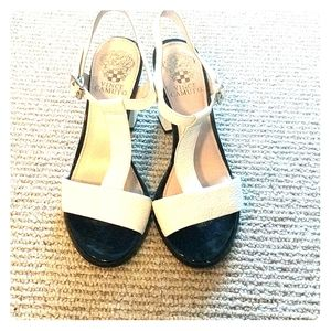 Vince Camuto white tstrap leather sandals